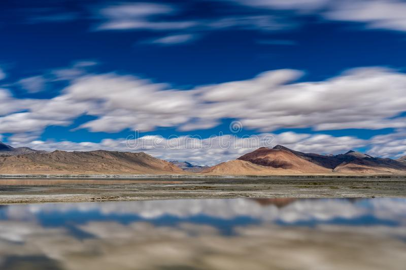 Salt Lake Tso Kar with Flow Cloud Blue sky in Summer. Salt Lake Tso Kar with Flow Cloud Blue sky in Broad daylight, Ladakh, Jammu and Kashmir, India royalty free stock photo