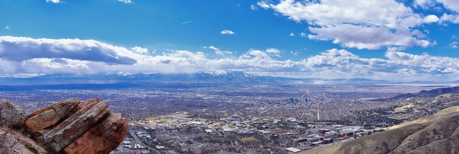Salt Lake Valley and City panoramic views from the Red Butte Trail to the Living Room, Wasatch Front, Rocky Mountains in Utah. Early spring. Hiking view of royalty free stock photo