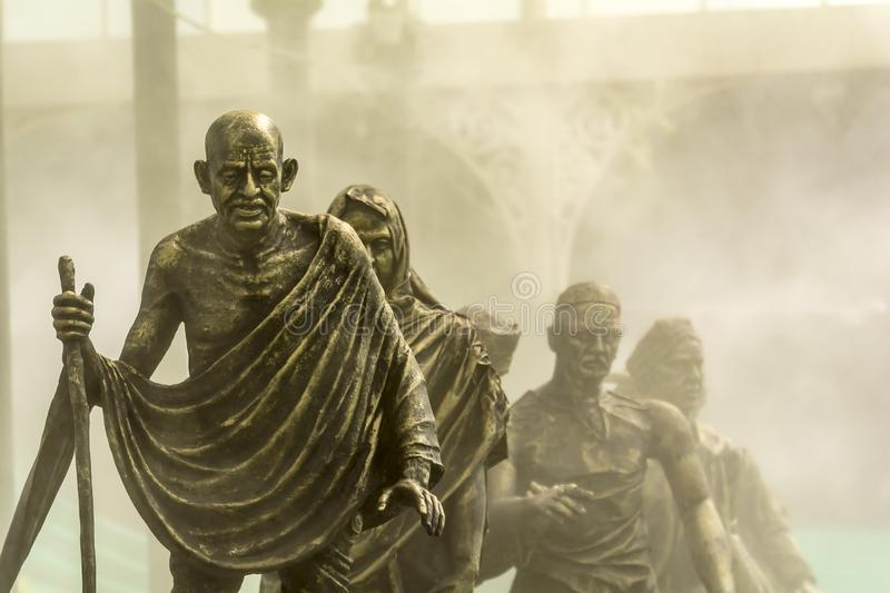 Salt March or Dandi March Led by Gandhi on Foggy Background royalty free stock images