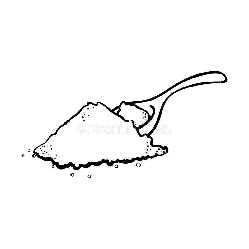 Salt matlagning för översiktsskedhög stock illustrationer