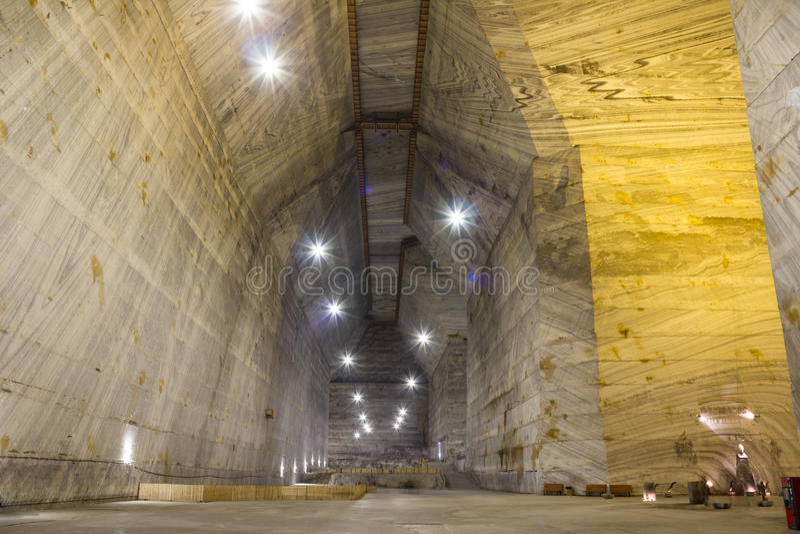 Salt mine. Unirea salt mine interior in Slanic Prahova, Romania stock photography