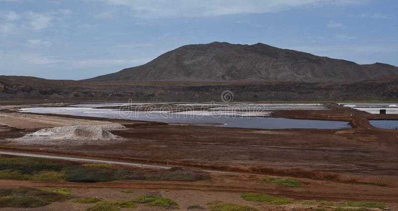 Salt mine in Cape Verde. Interior of salt mine inside the caldera of a volcano in Cape Verde, with salt lakes visible stock photography