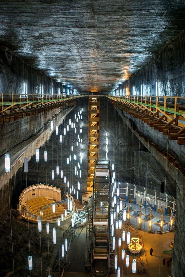 Salt Mine in Turda, Romania. TURDA, ROMANIA - JUNE 30 2015: Underground space in the Salt Mine Salina Turda museum in Romania royalty free stock photos