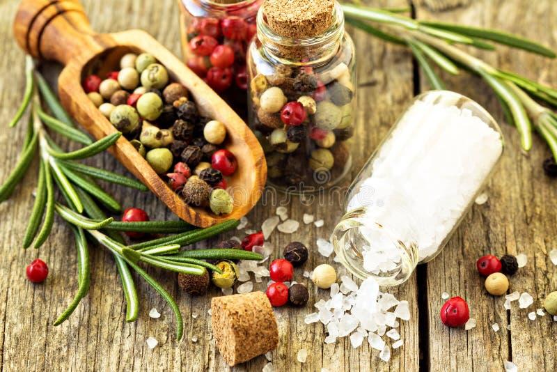 Salt och olika sorter för rosmarinar, av peppar arkivbilder