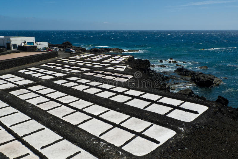 Salt pans of Fuencaliente, near the Teneguia volcan range, La Palma island. The Saltpans or salinas of Fuencaliente (aka Los Canarios) on the southernmost point royalty free stock image