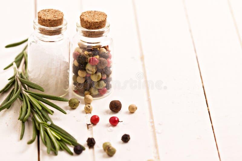 Salt, peppar och rosmarinar royaltyfri fotografi
