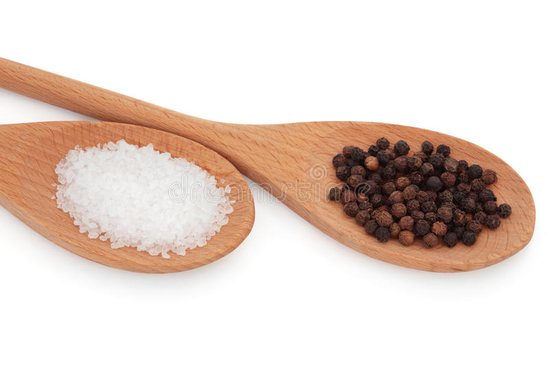 Download Salt and Pepper stock photo. Image of spoon, peppercorn - 19030160