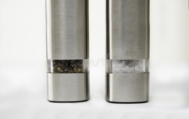 Salt and Pepper grinder stock photo