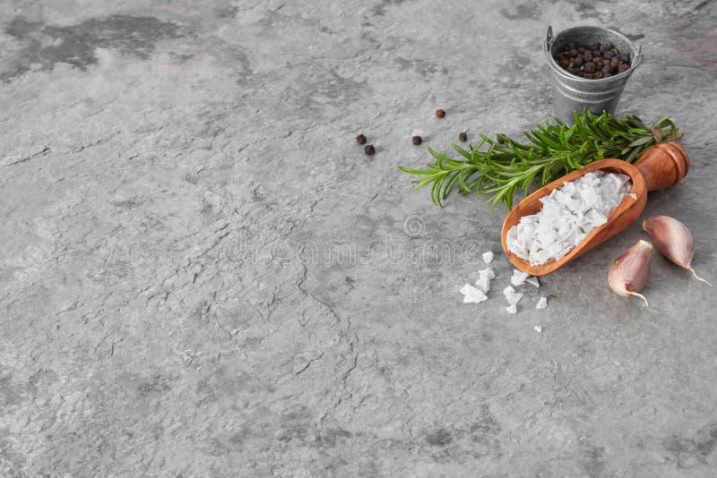 Salt, pepper, rosemary and garlic stock image
