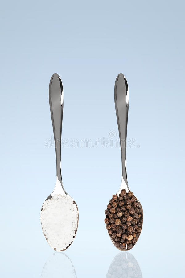 Download Salt and pepper on spoons stock photo. Image of flavor - 29810702