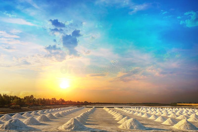 Salt pile in the salt pan in the rural areas at sunrise. Salt pile in the salt pan in the rural areas of Thailand at sunrise royalty free stock photo