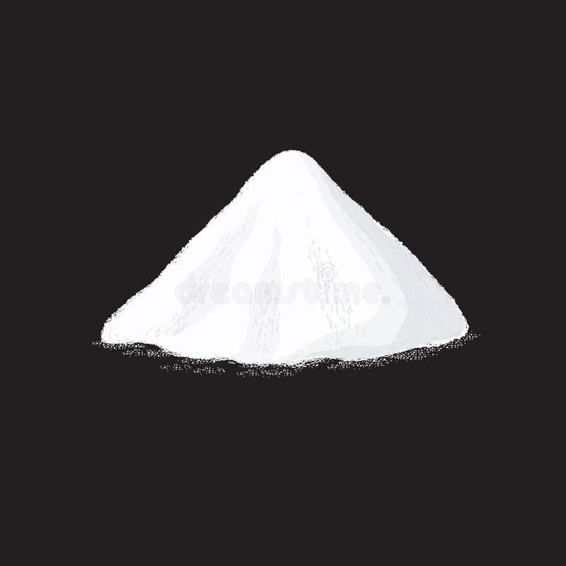 Salt pile. White sugar powder heap vector illustration on black background stock illustration