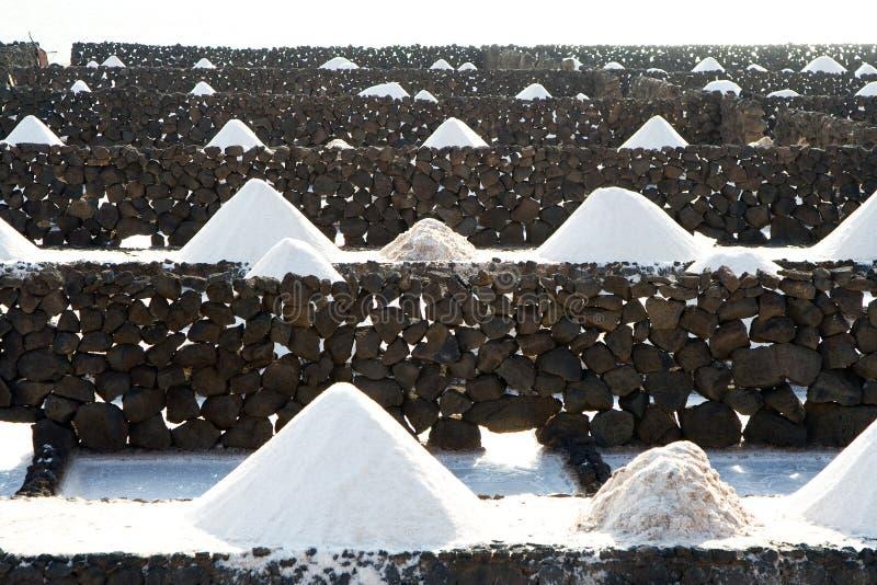 Salt piles in the Salinas de Janubio in Lanzarote royalty free stock photos
