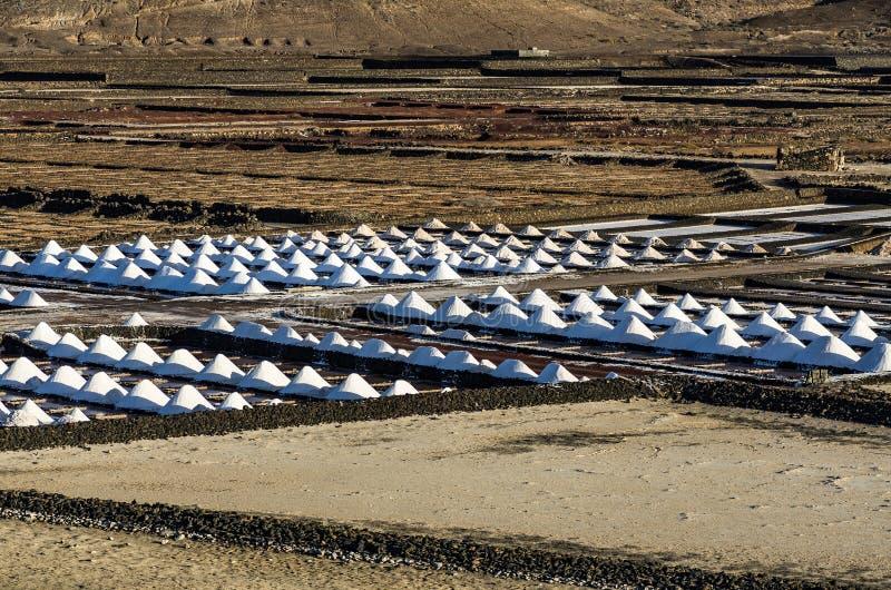 Salt piles in the Salinas de Janubio, Lanzarote stock images