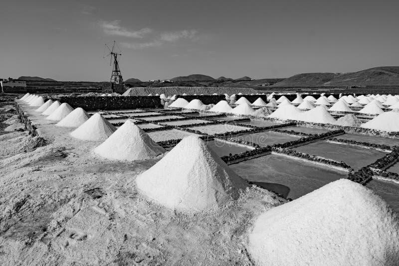 Salt piles on a saline exploration stock image