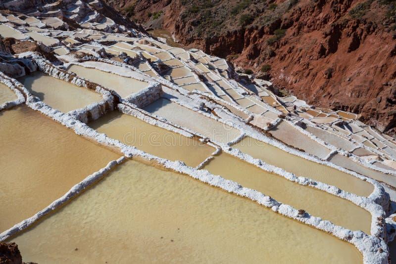 Salt ponds. Maras salt ponds located at the Urubamba, Peru stock photography