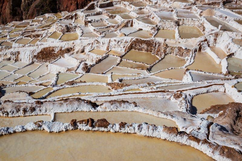 Salt ponds. Maras salt ponds located at the Urubamba, Peru stock photo