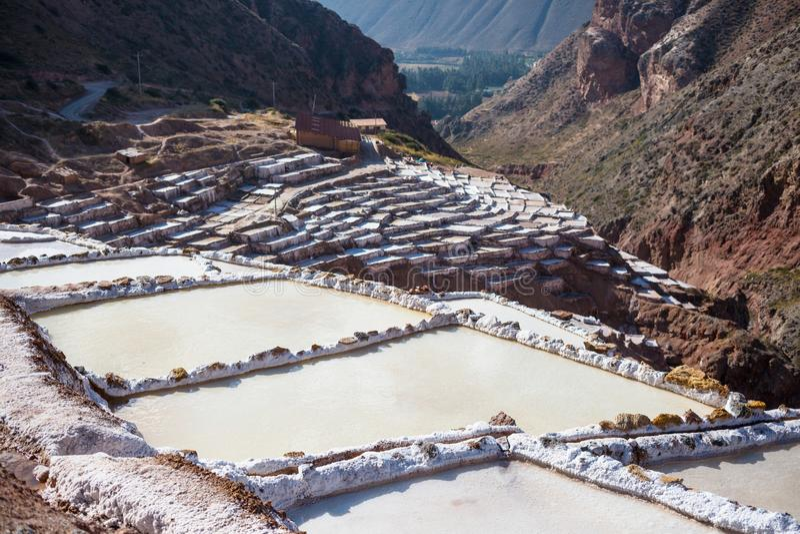 Salt ponds. Maras salt ponds located at the Urubamba, Peru royalty free stock photography