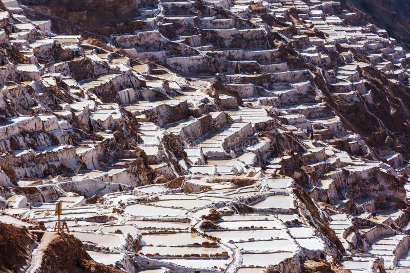 Salt ponds. Maras salt ponds located at the Urubamba, Peru stock photos