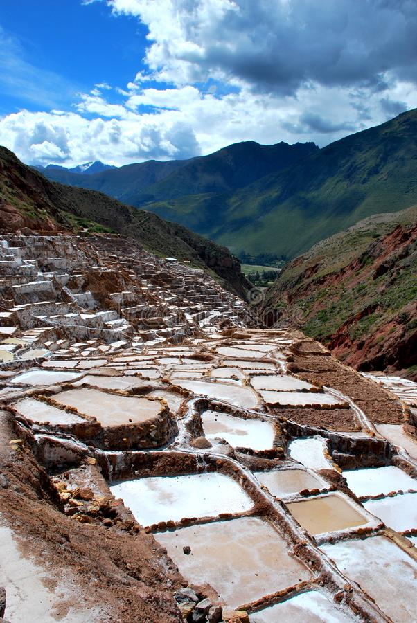 Salt Ponds in Maras in the Urubamba Valley. In the Cuzco region in the south of Peru stock photo