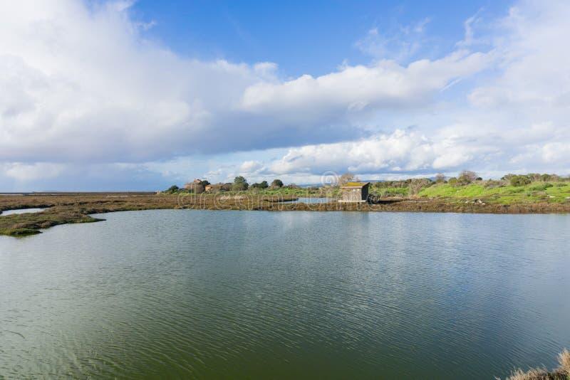 Salt ponds and marshes, Don Edwards Wildlife Refuge, south San Francisco bay, Alviso, San Jose, California stock photo
