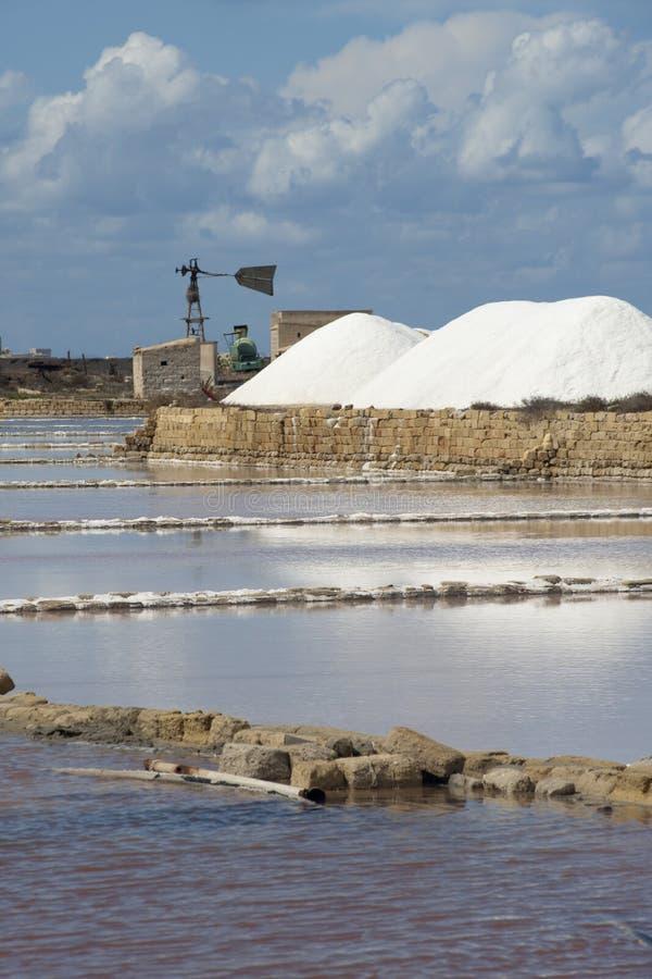 Salt ponds near Trapani in Sicily. Salt at the salt ponds near Trapani in Sicily stock images