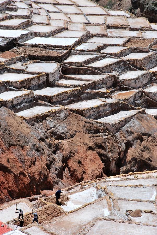 Salt Ponds and terraces in Maras. In the Urubamba Valley in the Cuzco region in the south of Peru royalty free stock photo