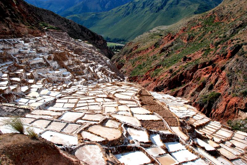 Salt Ponds and terraces in Maras. In the Urubamba Valley in the Cuzco region in the south of Peru stock photography