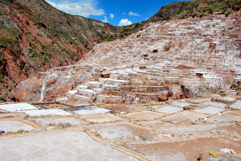 Salt Ponds and terraces in Maras. In the Urubamba Valley in the Cuzco region in the south of Peru royalty free stock images