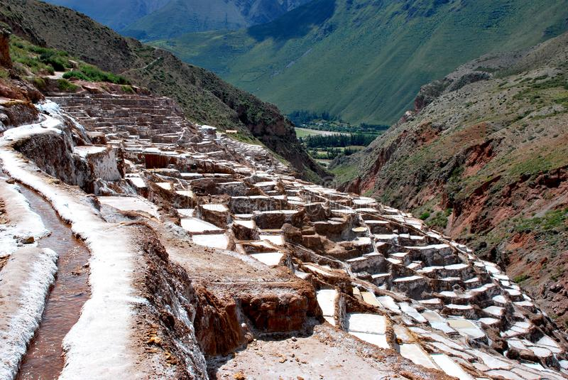 Salt Ponds and terraces in Maras. In the Urubamba Valley in the Cuzco region in the south of Peru stock photos