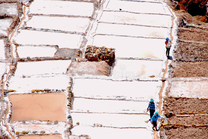 Salt Ponds and terraces in Maras. In the Urubamba Valley in the Cuzco region in the south of Peru royalty free stock image