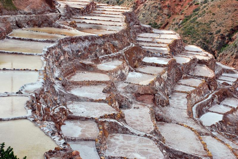 Salt Ponds and terraces in Maras. In the Urubamba Valley in the Cuzco region in the south of Peru stock images