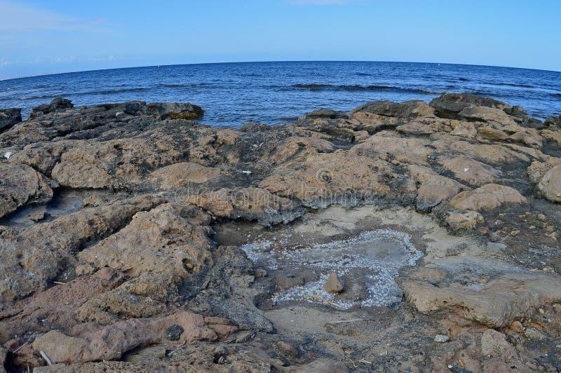 Salt Pool On Rocks stock photo