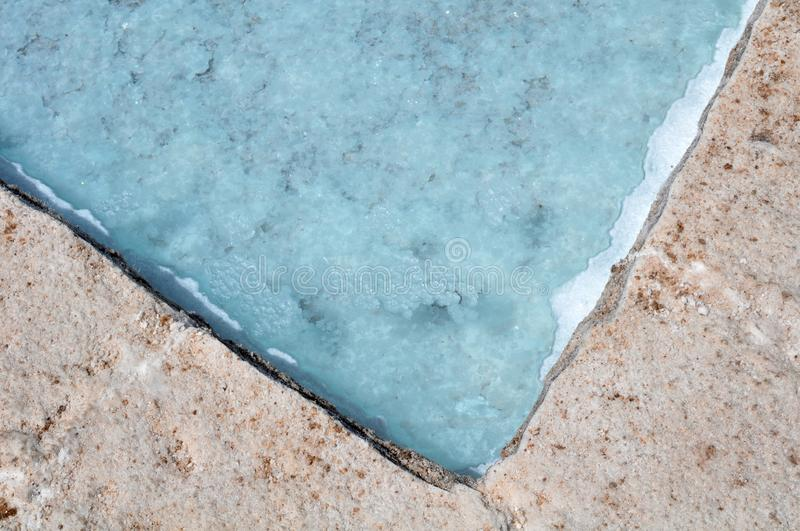 Salt pools at Salinas Grandes. A large salt flat in central-northern Argentina at an average altitude of 3300 metres royalty free stock photo