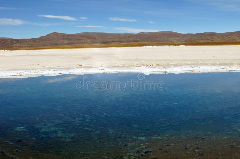 Salt pools at Salinas Grandes. A large salt flat in central-northern Argentina at an average altitude of 3300 metres stock photos