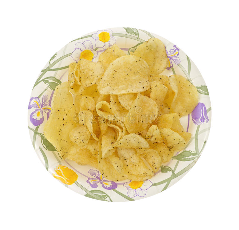 salt potatis för chippepparplatta royaltyfria foton