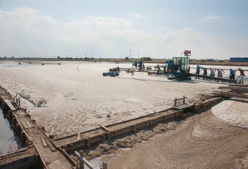 Salt production in Black sea, Bulgaria stock image