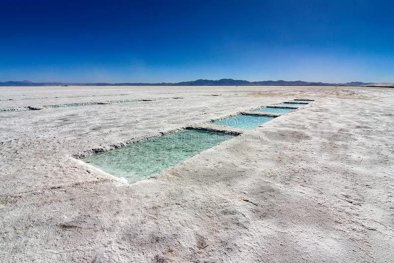 Salt production in the desert of Salinas Grandes, Argentina stock photo