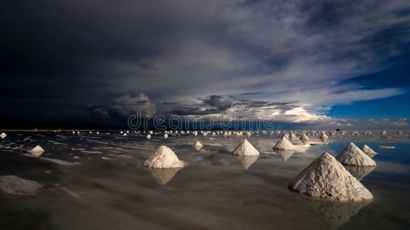 Salt pyramids in salar de uyuni stock photos