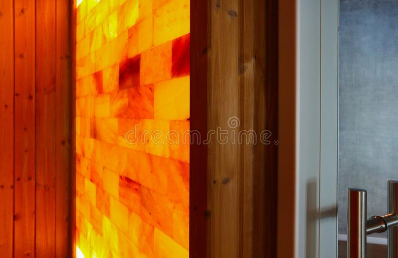 Salt room at the spa hotel. Interior of the salt therapy sauna, royalty free stock photo