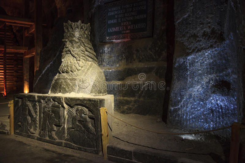 Salt sculpture Casimir III the Great. Wieliczka Salt Mine operated continuously since the 13th century. Underground Mine has over 300 corridors and 300 chambers stock photo