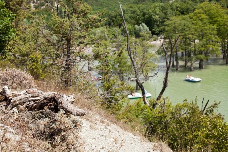 Salt See im Berggebiet tagsüber lizenzfreies stockbild