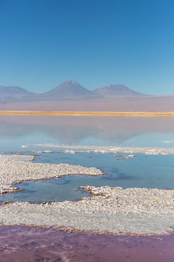 Salt See Salar in Atacama-Wüste, Chile, Südamerika, vulcano im Hintergrund lizenzfreies stockbild