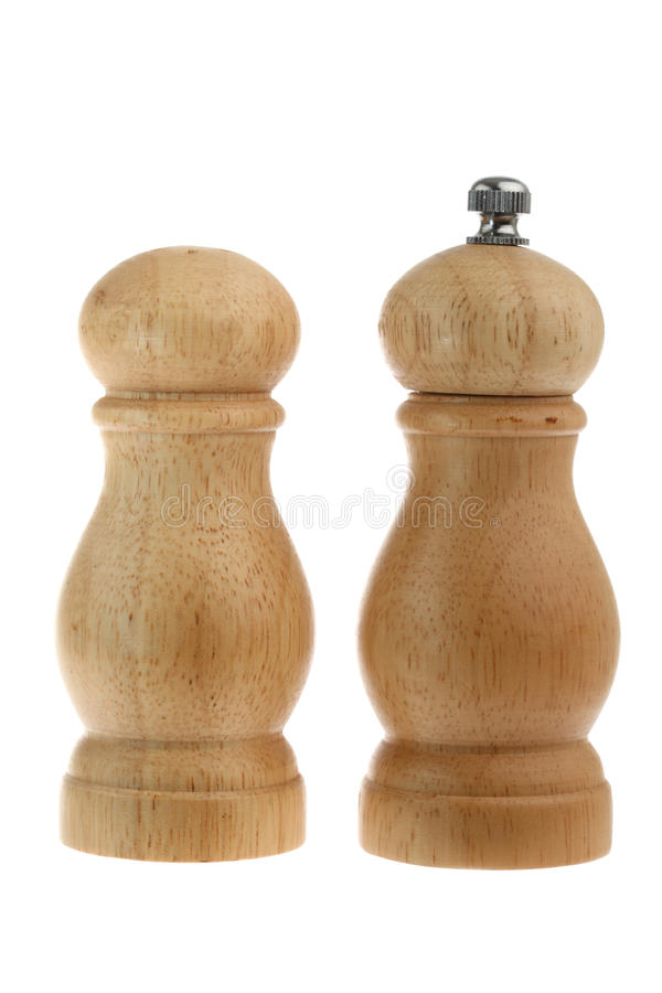Free Salt Shaker And Pepper Grinder Made From Wood Stock Photography - 13586842