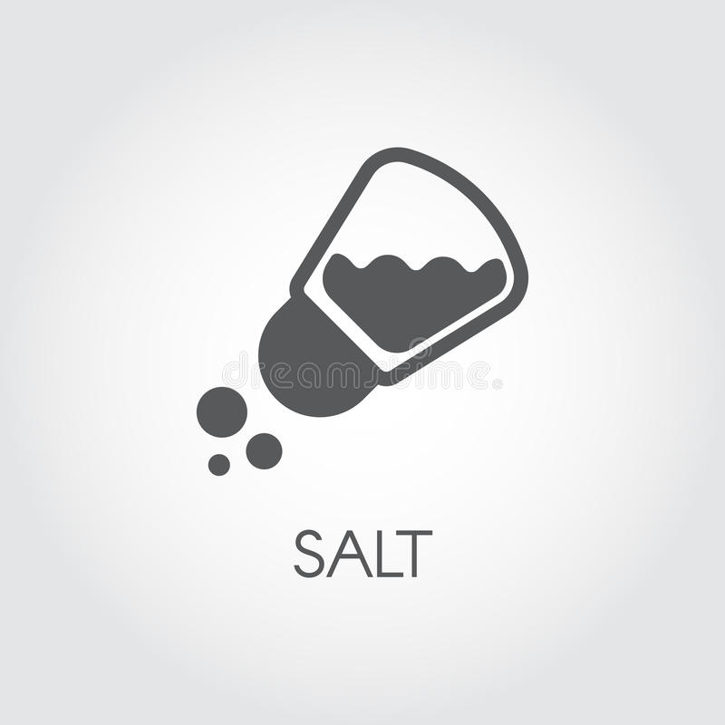 Salt shaker seasoning icon in flat design. Pictogram for food cooking theme. Simple emblem of spice. Vector illustration. On a gray background vector illustration