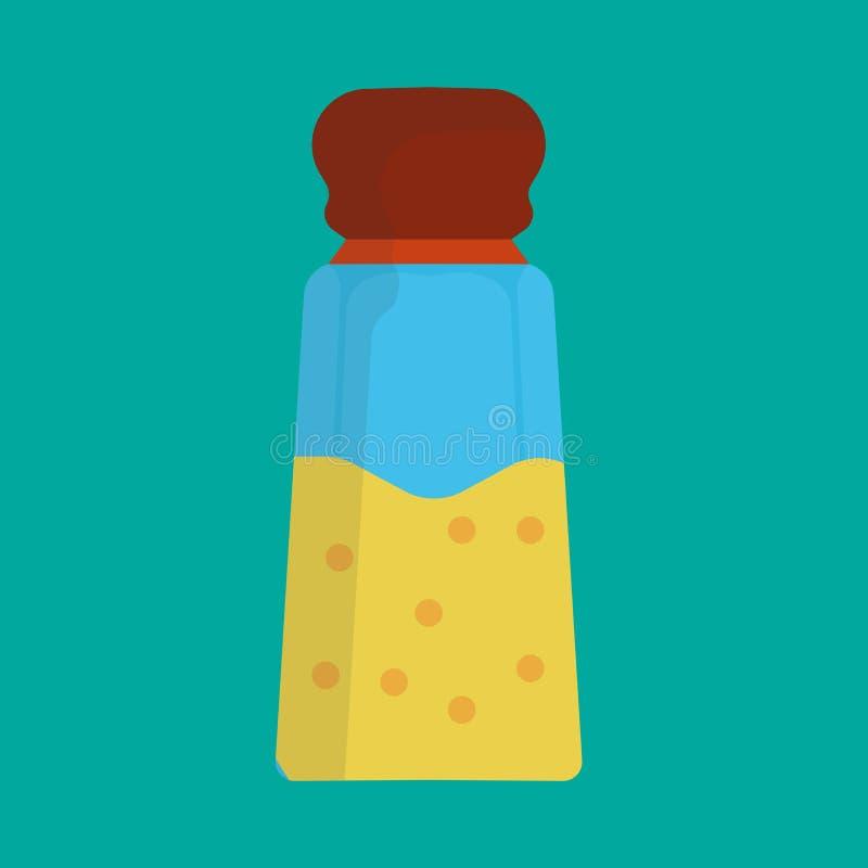Salt shaker vector icon illustration food kitchen. Spice ingredient cooking glass bottle isolated. Pepper flavor powder grinder.  royalty free illustration