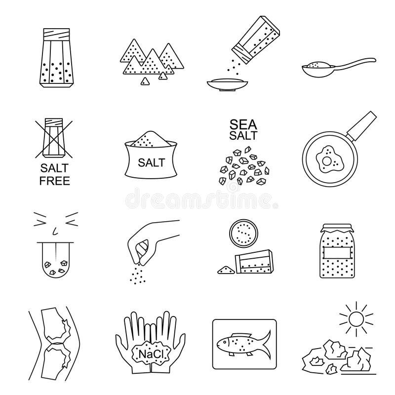 Free Salt Signs Black Thin Line Icon Set. Vector Stock Photography - 122611112