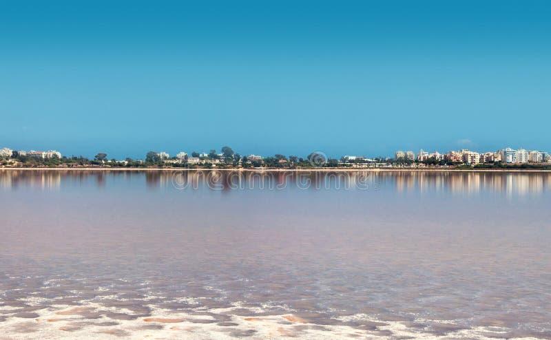 Salt sjö, naturliga phenomen nära Larnaka fotografering för bildbyråer