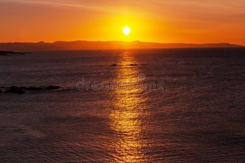 salt solnedgång för ayiastrandcyprus napa arkivbild