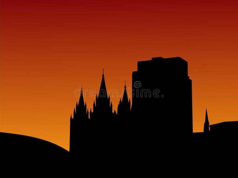 salt solnedgång för stadslake royaltyfri illustrationer